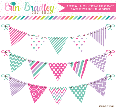 Pink Purple Teal Blue Banner Flag Clipart