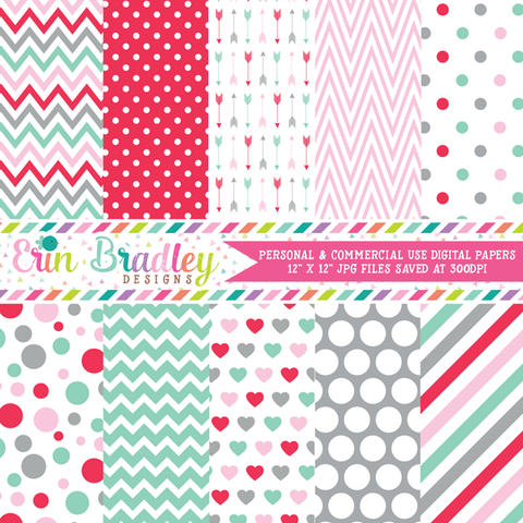 Aqua Blue Pink Red Gray Valentines Day Digital Papers