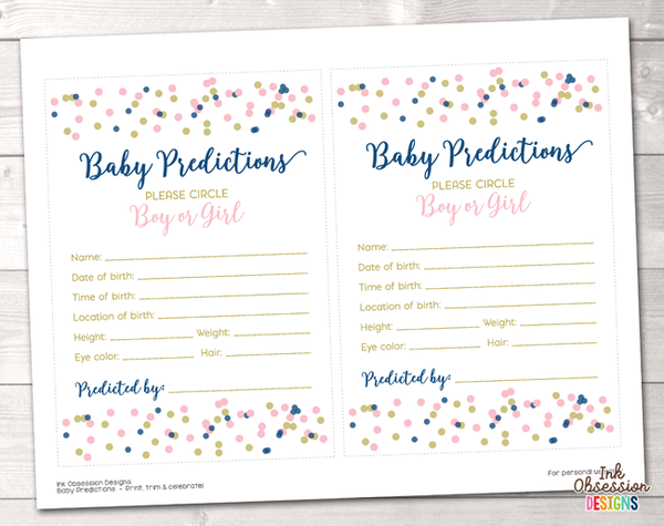 Pink and Blue Polka Dot Confetti Baby Predictions Card
