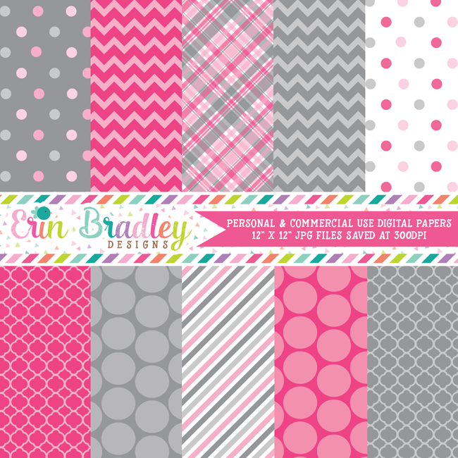 Pink and Gray Elephant Medley Digital Papers