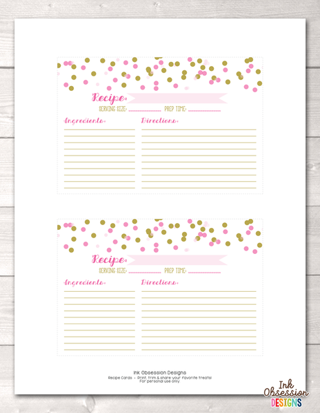 Pink and Gold Polka Dot Confetti Printable Recipe Cards