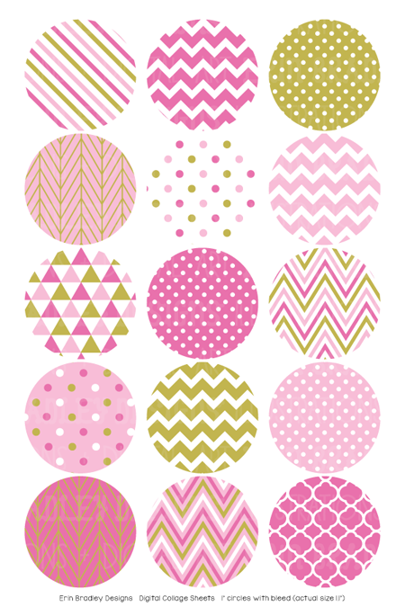 Pink and Gold Digital Bottle Cap Images