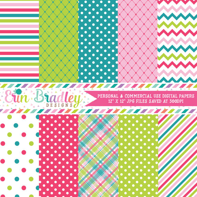 Pink Green Blue Digital Papers