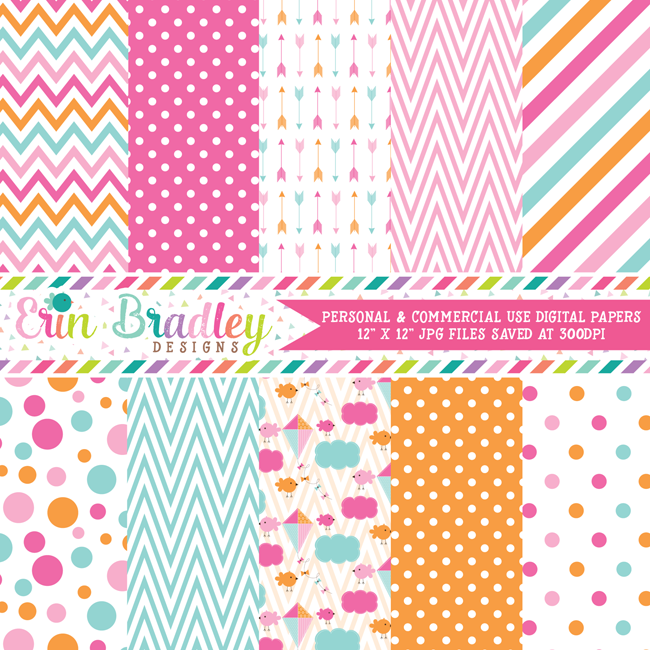 Pink Orange Blue Birds Digital Paper Pack