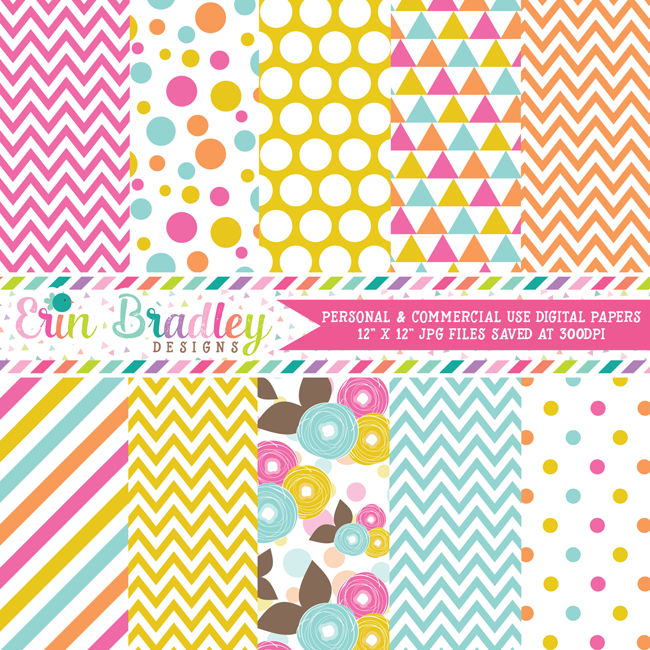Pink Orange Yellow Blue Floral Digital Papers