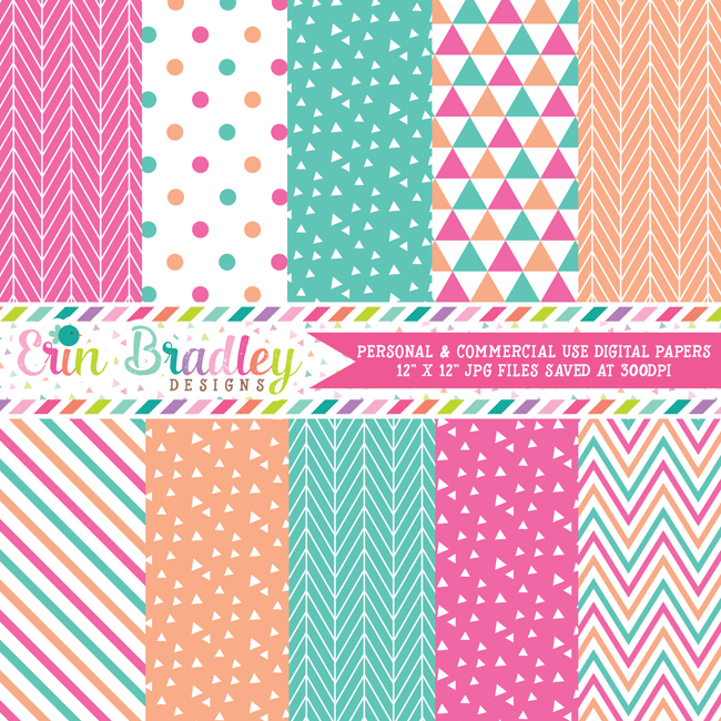 Pink Peach and Blue Digital Papers
