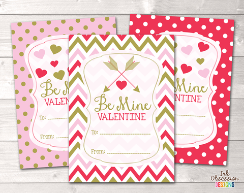 Pink Red and Gold Be Mine Printable Valentines Day Cards