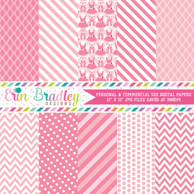 Pink Tutus Digital Paper Pack