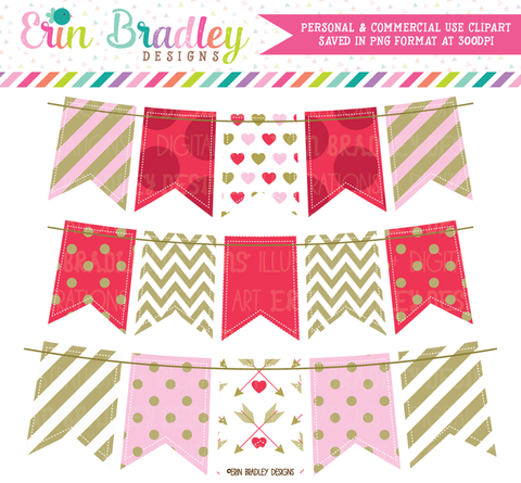 Valentines Day Clipart Bunting