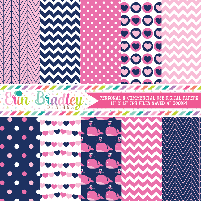 Pink Whales Nautical Digital Paper Pack