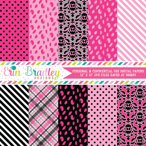 Pink and Black Digital Paper Pack