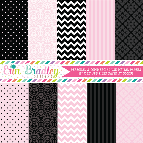 Light Pink and Black Digital Papers