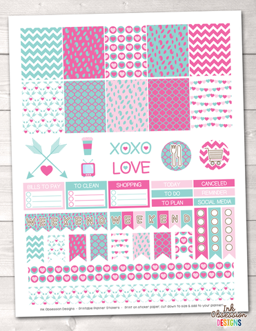 Valentines Day Pink and Blue Printable Planner Stickers Weekly Kit