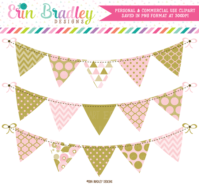Pink and Gold Bunting Clipart
