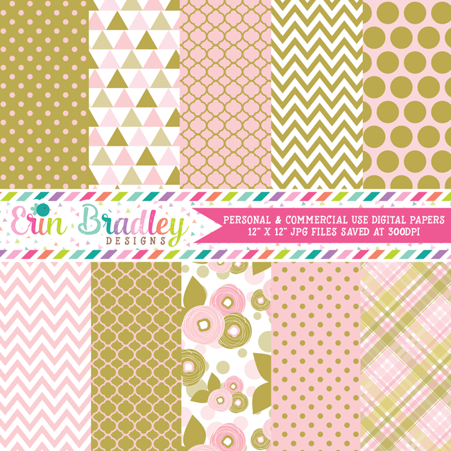 Pink and Gold Floral Digital Paper Pack