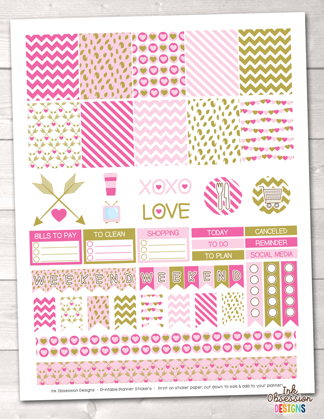 Valentines Day Pink and Gold Printable Planner Stickers Weekly Kit