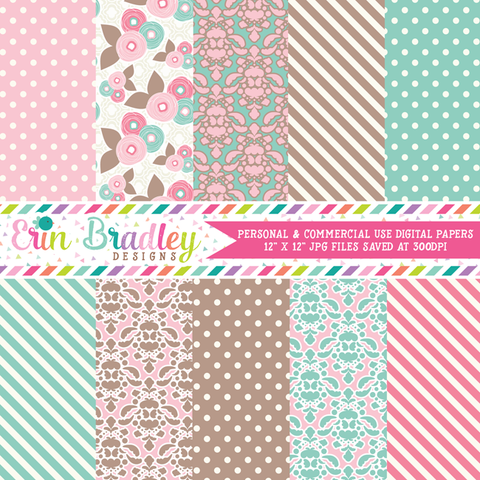 Pink Blue Brown Floral Digital Paper Pack