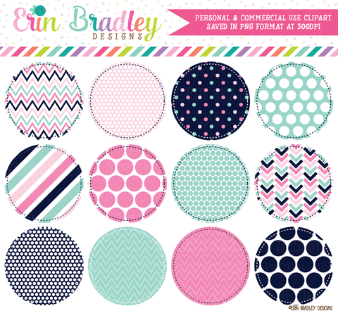 Pink Navy and Aqua Circles Clipart