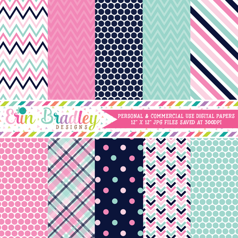 Pinks and Blues Digital Paper Pack