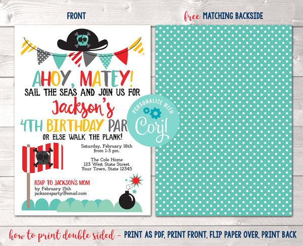 Editable Pirate Birthday Party Invitation Instant Download Digital File