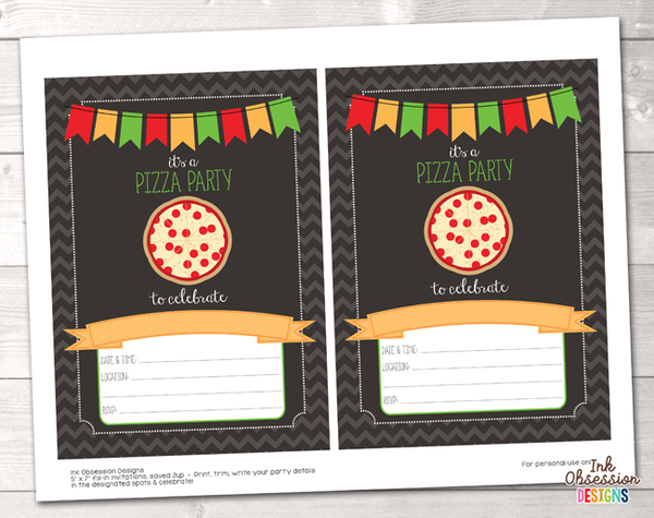 Pizza Party Printable Birthday Party Invitation