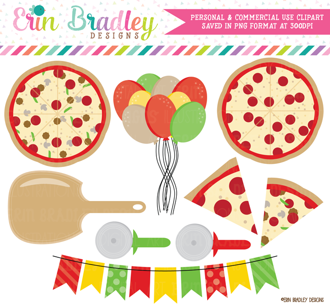 Pizza Party Clipart Graphics