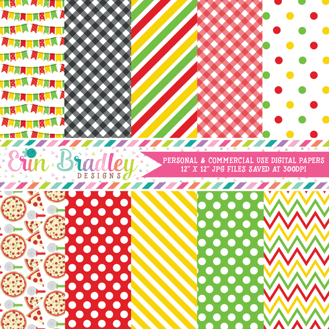 Pizza Party Digital Paper Pack