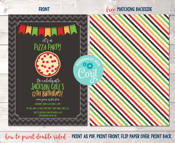 Editable Pizza Party Birthday Party Invitation Instant Download Digital File
