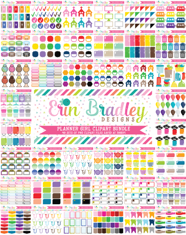 Planner Girl Clipart Bundle Set 2