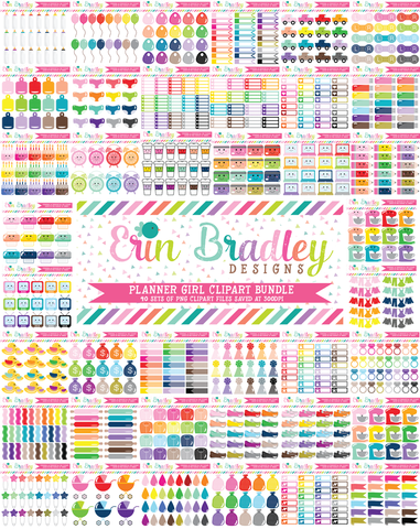 Planner Girl Clipart Bundle Set 3