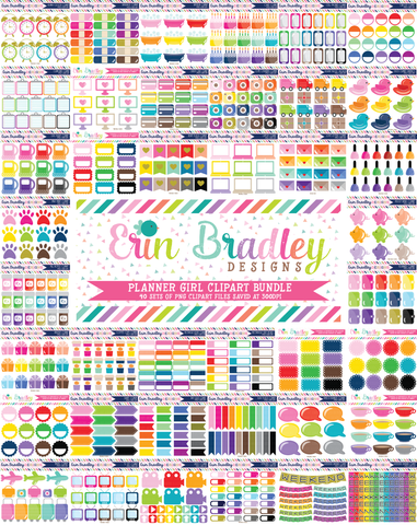 Planner Girl Clipart Bundle