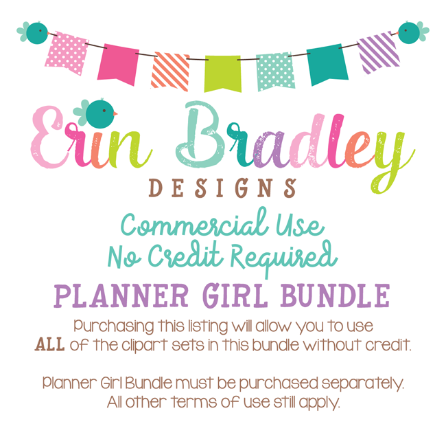 Commercial Use No Credit Required for Planner Girl Clipart Package