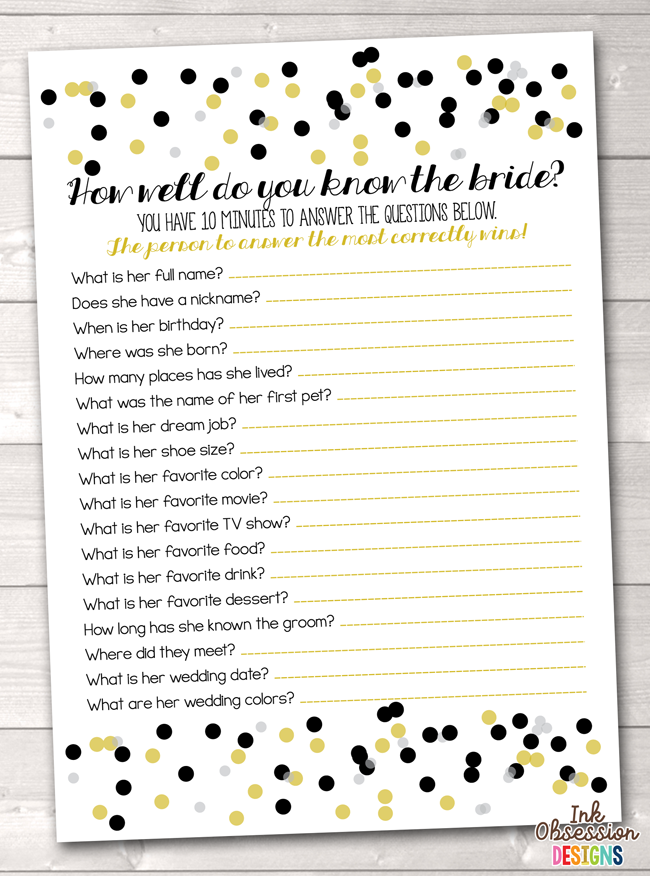 graphic about How Well Do You Know the Bride Printable titled How Very well Do On your own Notice the Bride Printable Match Black Gold Polka Dot Confetti