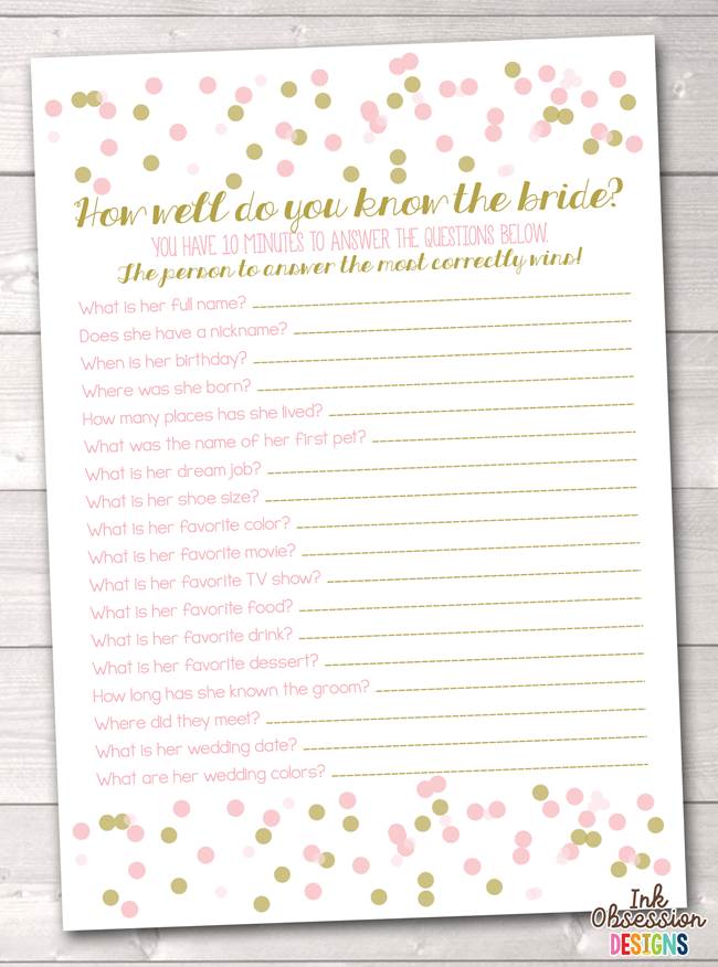 Instant Download Bridal Shower Game Pink & Gold Confetti Polka Dots