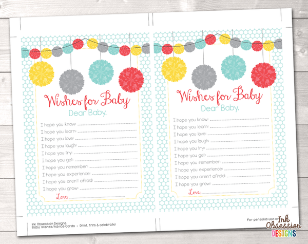 Pom Poms Printable Baby Wishes Cards