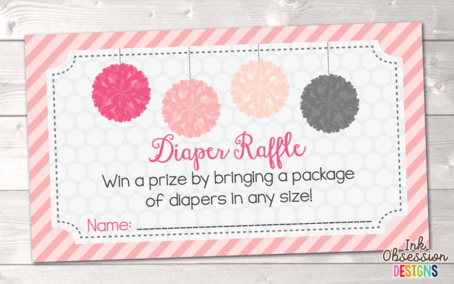 Pink Pom Poms Printable Diaper Raffle Ticket
