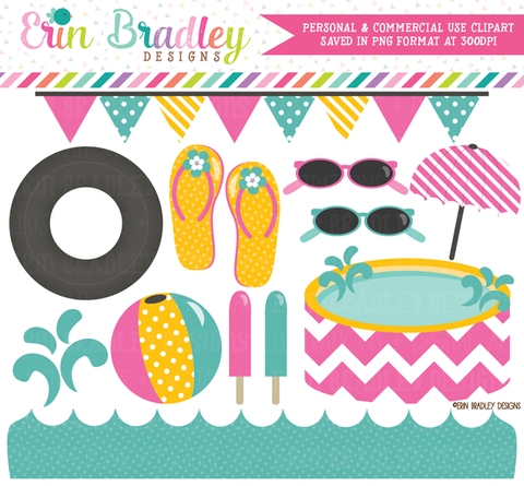 Pool Party Clipart Pink