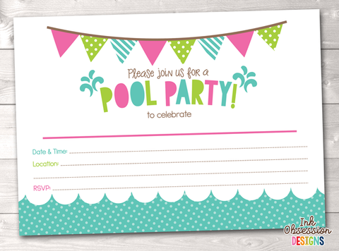 Girls Pool Party Printable Birthday Party Invitation