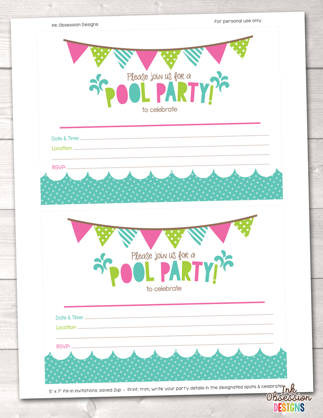 girls pool party printable birthday party invitation erin bradley