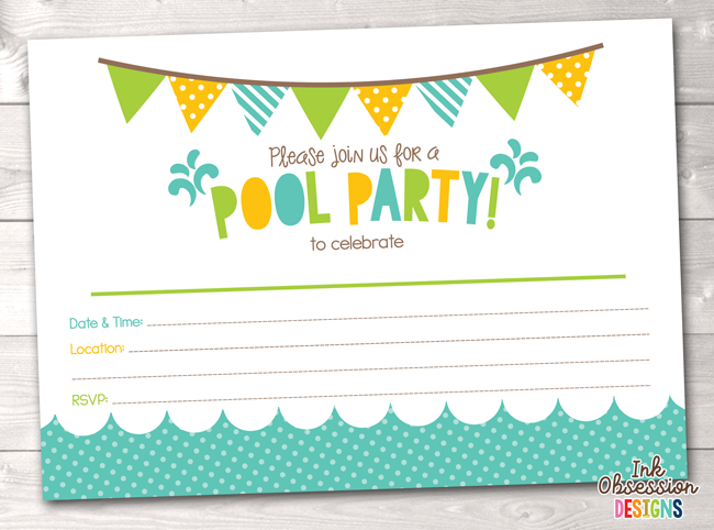 picture regarding Pool Party Printable called Pool Get together Printable Birthday Social gathering Invitation