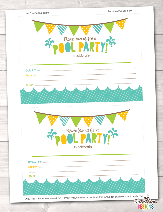Pool Party Printable Birthday Party Invitation – Erin Bradley/Ink ...