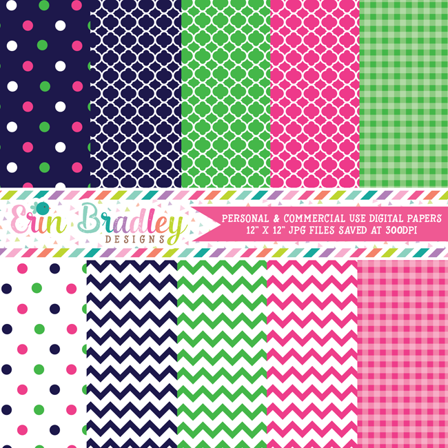 Preppy Pink Blue Green Digital Papers