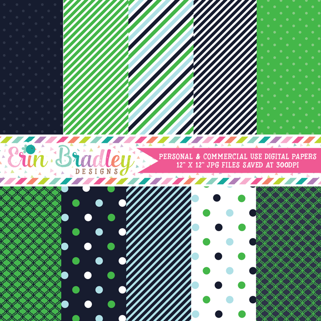 Preppy Navy Blue and Green Digital Papers