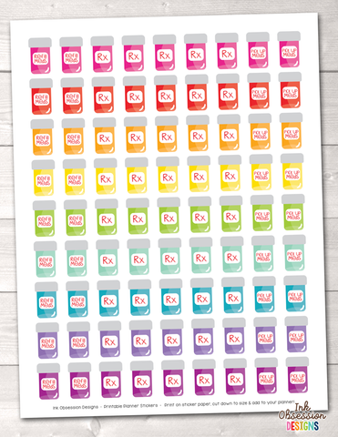 Medication Pill Bottles Printable Planner Stickers PDF