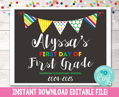 Editable First Day of School Sign Primary Colors Banner Instant Download