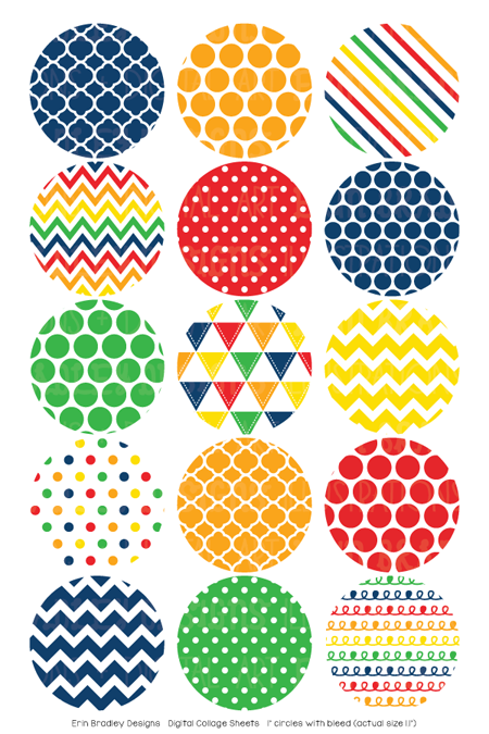Primary Colors Digital Bottle Cap Images