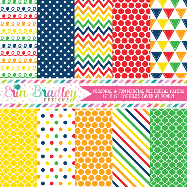 Primary Colors Digital Paper Pack