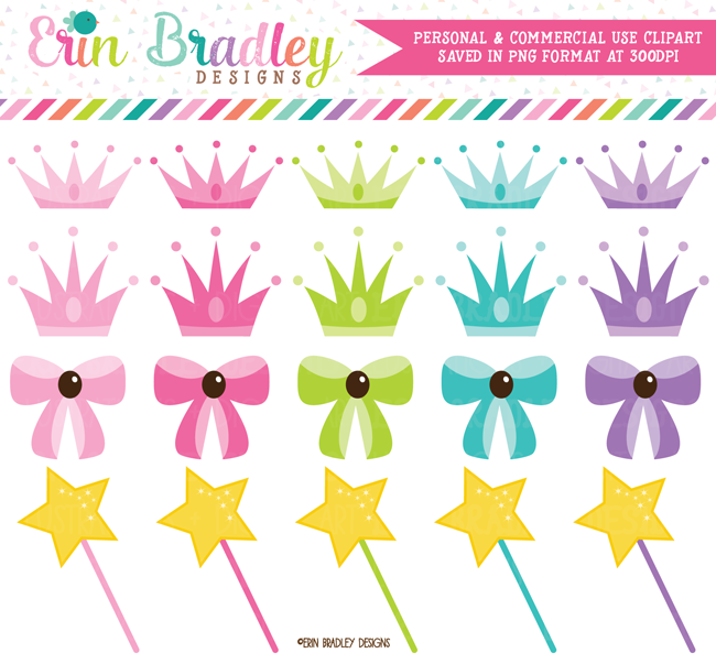 Princess Crowns Wands Bows Clipart for Girls