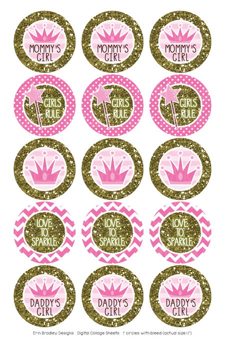 Pink Princess and Gold Glitter Digital Bottle Cap Images