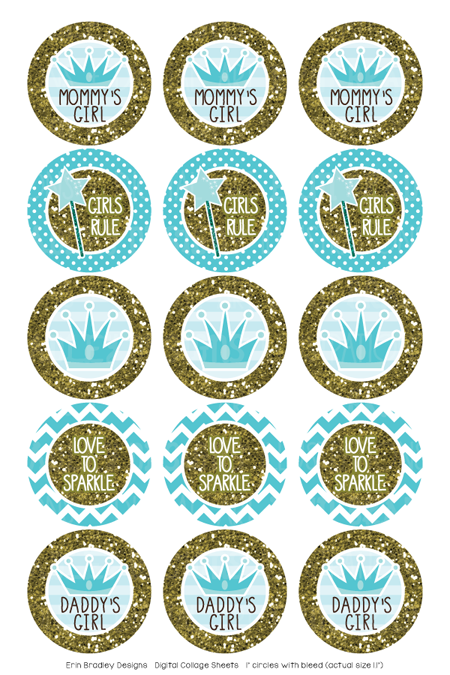 Blue Princess and Gold Glitter Digital Bottle Cap Images